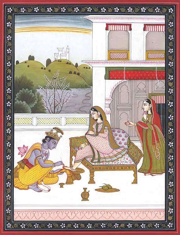 Krishna Tends to Radha's Feet