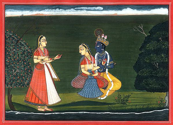 Krishna with Radha and Gopi (Gita Govinda Series)
