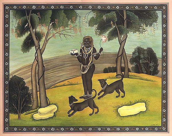 Lord Bhairava with Skull Cup and Dogs