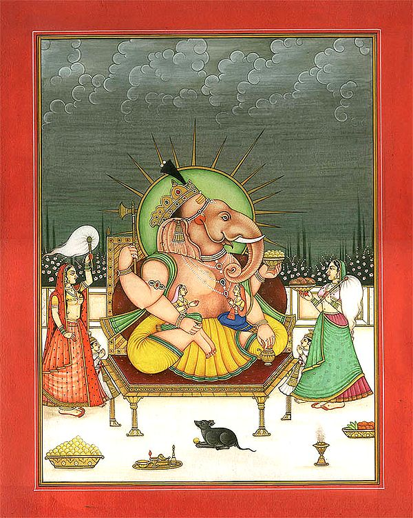 Lord Ganesha with Buddhi and Siddhi