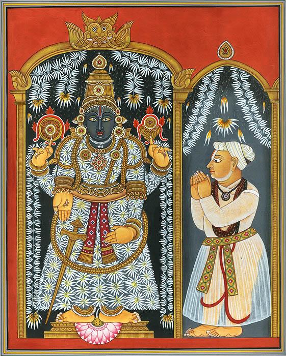 Lord Venkateshvara as Balaji with a Devotee