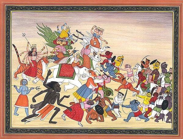 Matrikas and Mahavidyas Battling Against Demons