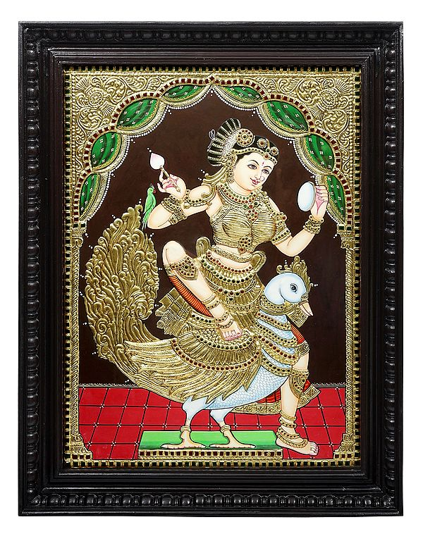 """21"""" x 27"""" Goddess Rati   Tanjore Painting   Traditional Colors With 24K Gold   Teakwood Frame   Gold & Wood   Handmade   Made In India"""