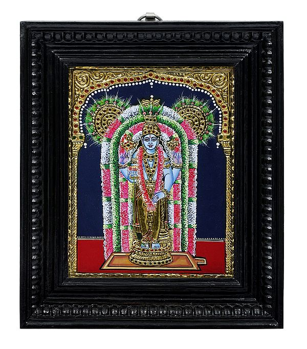 Bhagawan Guruvayur | Tanjore Painting | Traditional Colors With 24K Gold | Teakwood Frame | Gold & Wood | Handmade | Made In India