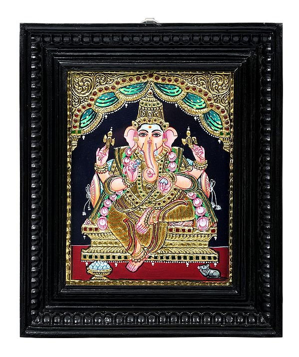 """10"""" x 12"""" Bhagawan Ganesha Tanjore Painting 