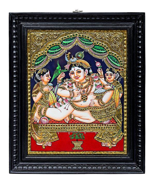 "15"" x 18"" Navaneeta Krishna Tanjore Painting | Traditional Colors With 24K Gold | Teakwood Frame | Gold & Wood | Handmade | Made In India"