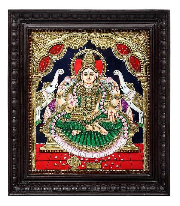 "18"" x 21"" Padmasana Gajalakshmi Tanjore Painting   Traditional Colors With 24K Gold   Teakwood Frame   Gold & Wood   Handmade   Made In India"