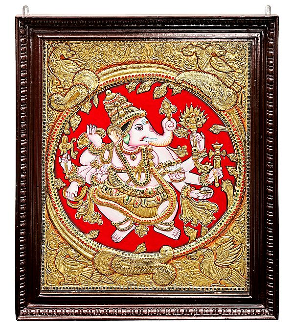 Large Ashtabhuja-Dhari Ganesha Tanjore Painting | Traditional Colors With 24K Gold | Teakwood Frame | Gold & Wood | Handmade | Made In India