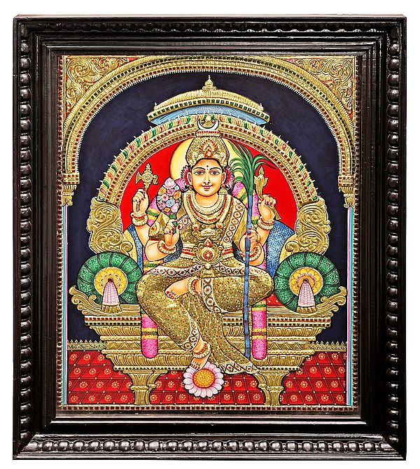 Large Goddess Rajarajeshwari Tanjore Painting | Traditional Colors With 24K Gold | Teakwood Frame | Gold & Wood | Handmade | Made In India