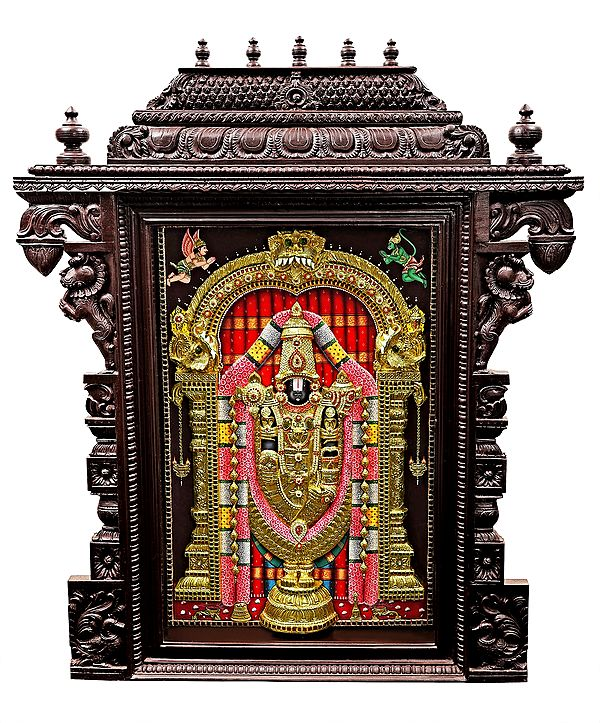 """43"""" x 52"""" Large Lord Venkateshvara as Balaji Tanjore Painting 