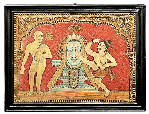 Large Bhakta Kannappa - Story of Bhagawan Shiva and A True Devotee |Tanjore Painting | Traditional Colors With 24K Gold | Teakwood Frame | Gold & Wood | Handmade | Made In India