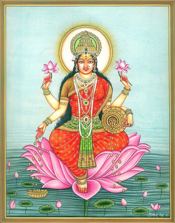 Goddess Dhana Lakshmi Seated on Lotus in Pond