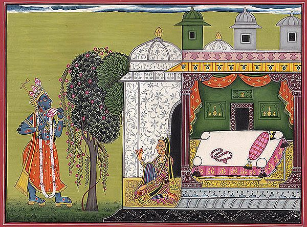 SAMANYA NAYIKA – COURTESAN   (A folio from the Rasa-manjari by Bhanudatta)
