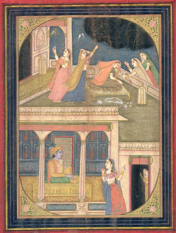 Radha Pines for Krishna while Her Sakhi Informs Him of Her State (Narrative Painting)