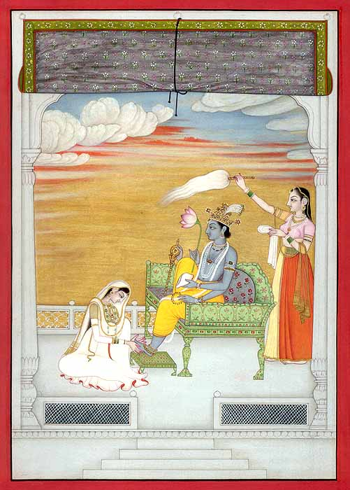 Radha Washes Krishna's Feet