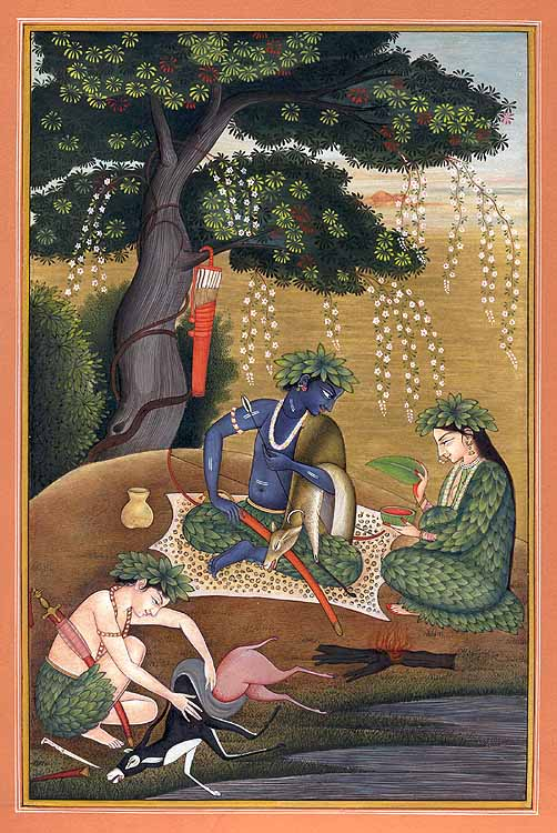 Rama Sita and Lakshmana in the Forest