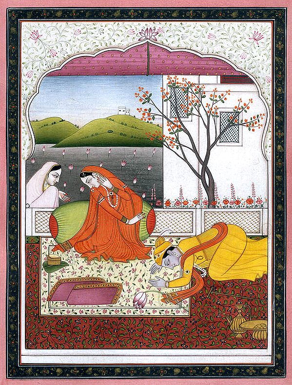 Shri Krishna Bowing Down before Radha