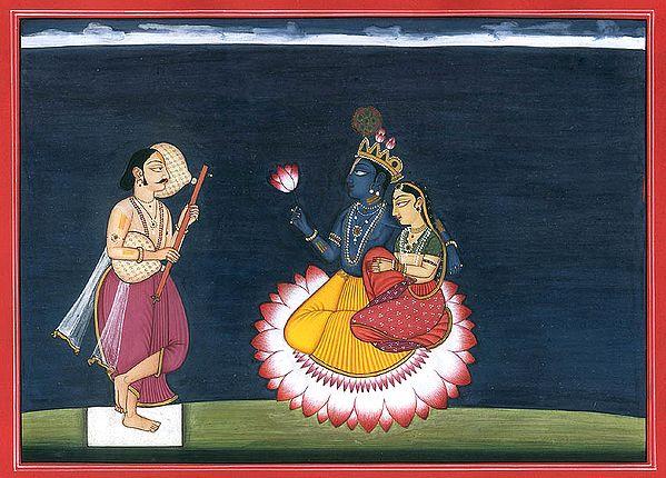Poet Jaideva Paying Homage to Radha and Krishna