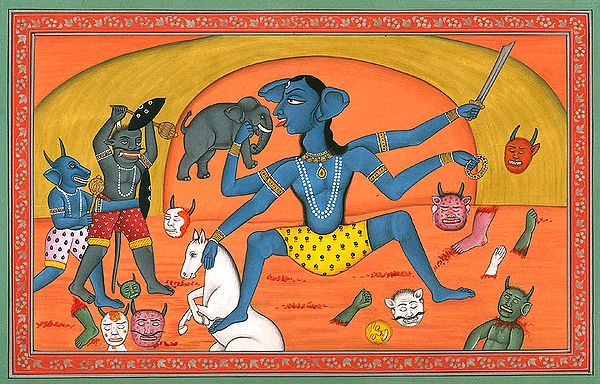 Goddess Kali Killing a Host of Demons