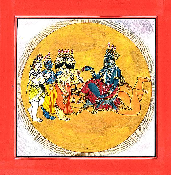 The Trinity Pays Homage to the Goddess Seated on a Corpse (Tantric Devi series from Basholi)
