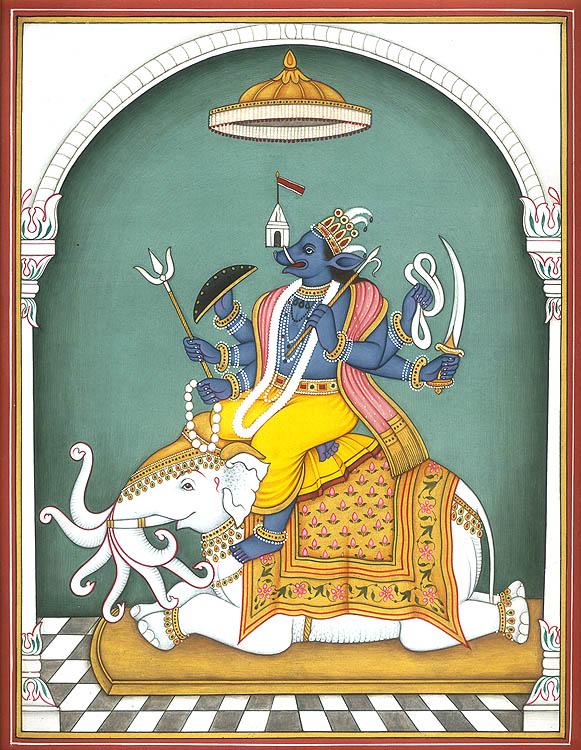 Varaha Incarnation of Lord Vishnu Seated on Seven Trunked White Elephant