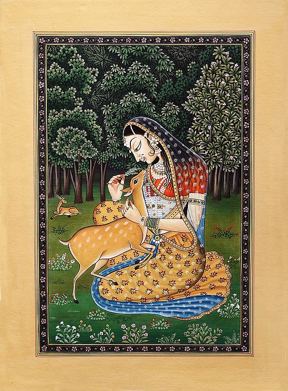 The Young Heroine Feeding a Deer