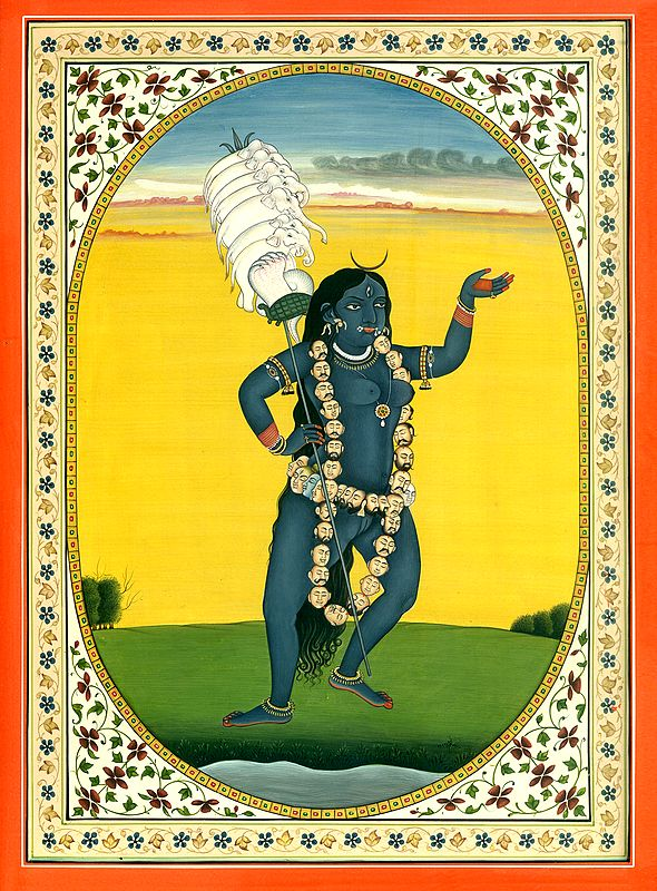 Goddess Kali Carrying a Staff of Elephants