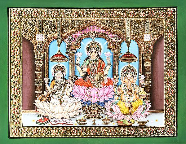 Pooja Of Sarasvati-Lakshmi-Ganesha