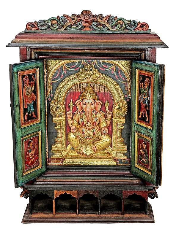 """37"""" x 52"""" Stunning Ganesha Tanjore Painting With Large Wooden Traditional Door Frame 