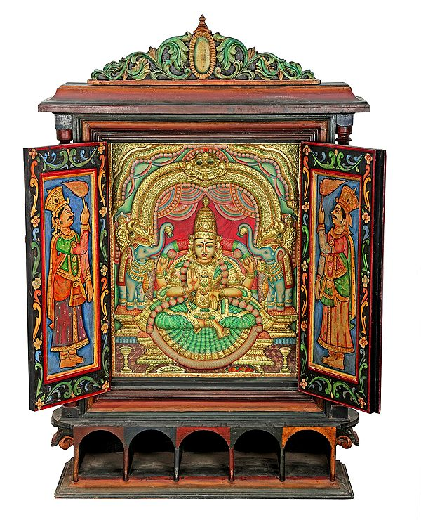 Glorious Gajalakshmi Tanjore Painting With Large Wooden Traditional Door Frame   Traditional Colors With 24K Gold   Teakwood Frame   Gold & Wood   Handmade   Made In India