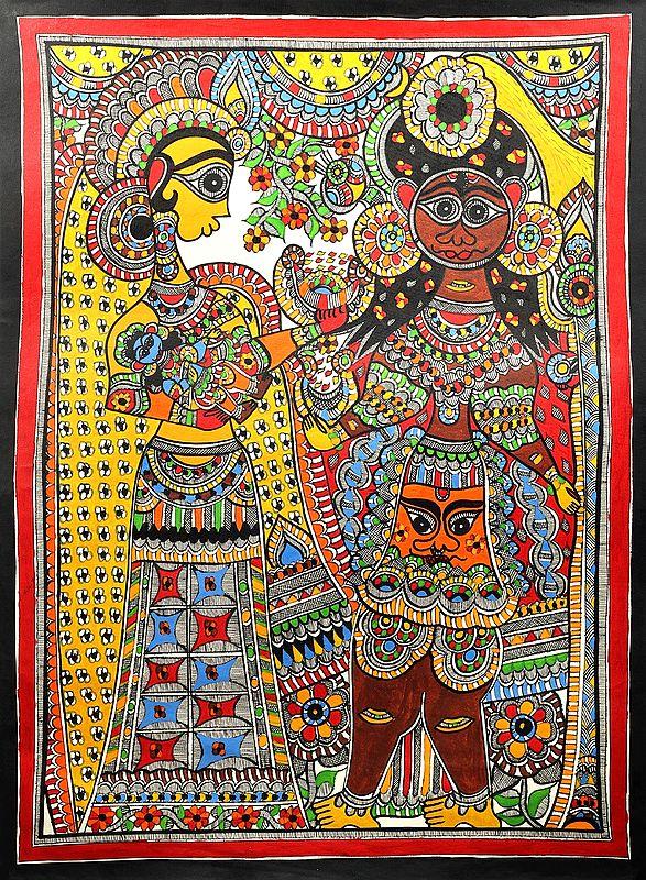 "21"" x 28"" Putana With Yashoda Carrying Baby Krishna |Traditional Colors | Handmade | Krishna Madhubani Paintings |Made in India"
