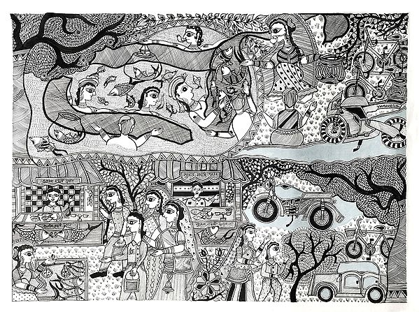 """28"""" x 20"""" Catching Fish And Selling In The Market 