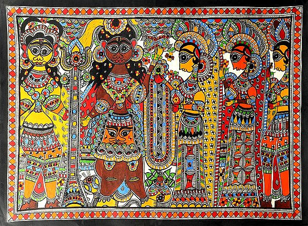 """29"""" x 20"""" Marriage Scene Of Shiva And Parvati 