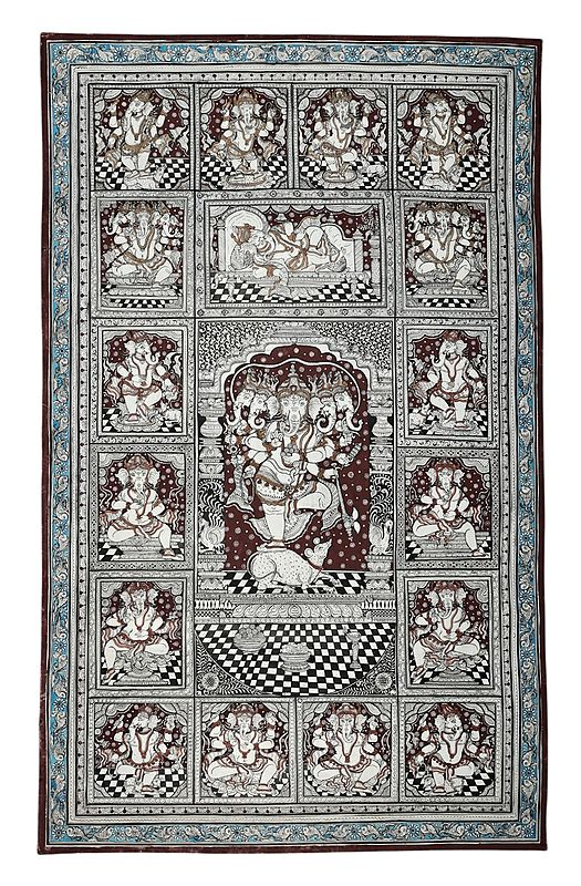 """24"""" x 39"""" Dancing  Bhagwan Ganesha Patachitra Paintings   Handmade   Panchamukha Ganesha  Ashta Vinayaka with Mandala   Ganpati Patachitra painting  Made in India"""