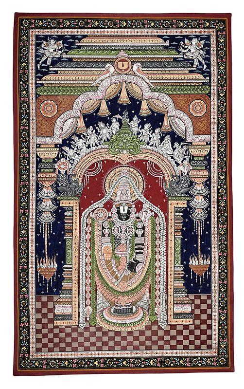 "23"" x 39"" Large The Divine Lord Venkateshwara Along With Kirtimukha Patachitra Paintings | Handmade | Traditional Colors Krishna | Shri Jagannatha Patachitra Paintings | Tirupati  Patachitra Paintings | Made in India"