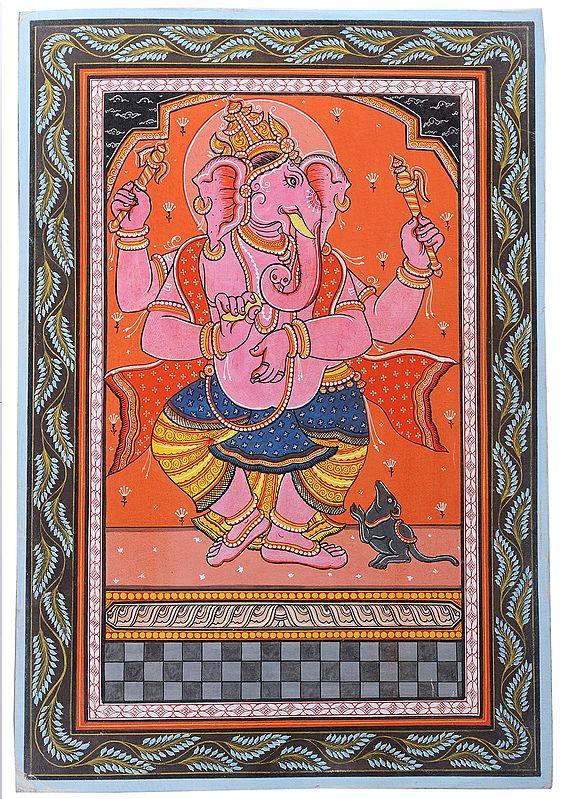 Lively Pink Hued Ganesha