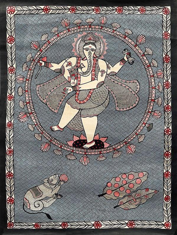 Dancing Ganesha In A Cosmic Lotus Aureole
