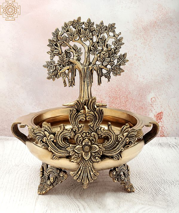 "14"" Bodhi Tree Design Urli   Handmade   Home Décor   Decorative Bowl / Accents   Brass   Made In India"