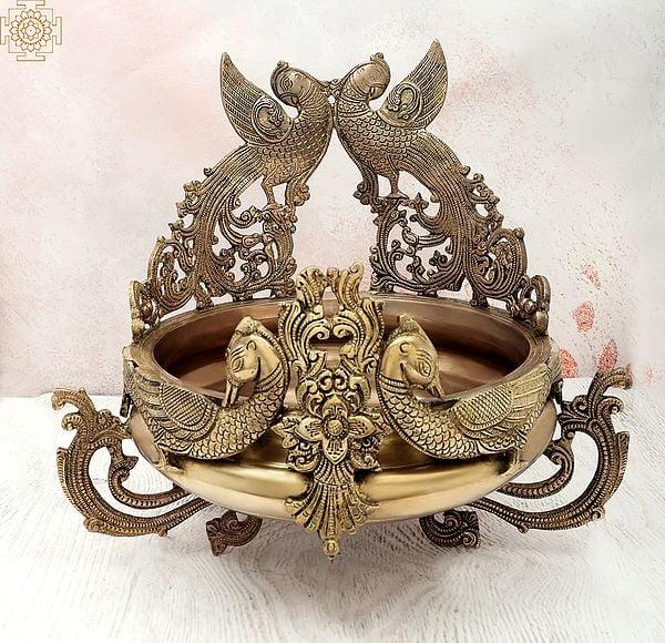 "15"" Elegant Peacock Urli | Handmade | Home Décor | Decorative Bowl / Accent | Brass | Made In India"