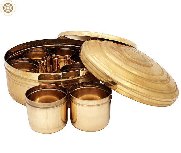 "4.5"" Traditional Spice Box   Masala Box   Traditional Masala Box   Brass Masala Box   Handmade   Made In India"