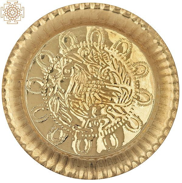 Peacock Design Brass Plate | Brass Plate | Handmade | Made In India