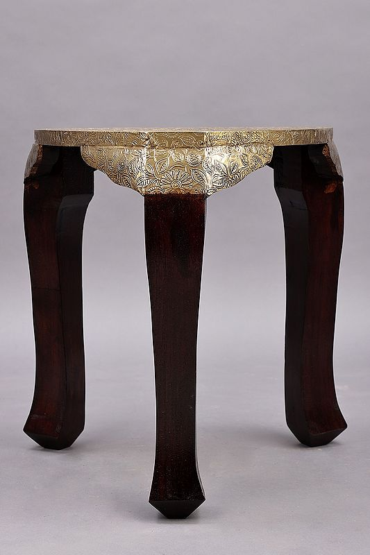 """23"""" Triangle Shape Wood Stool with Brass Work 