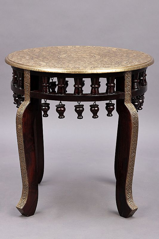 """17"""" Round Wooden Stool with Brass Work   Wooden Sitting Table   Handmade   Made In India"""