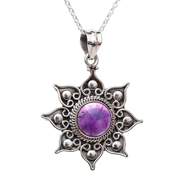 Star Shaped Sterling Silver Pendant Studded with Precious Gemstone