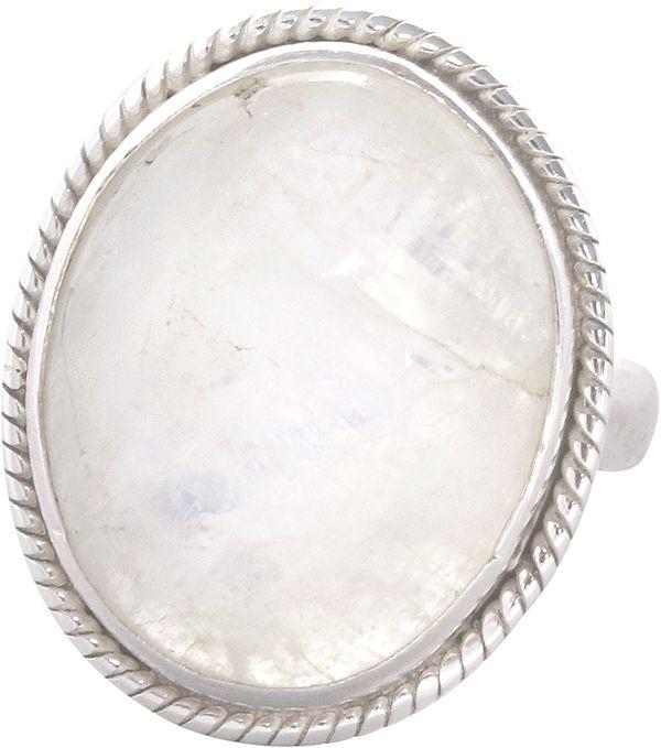 Cabochon Rainbow Moonstone Embellished Ring