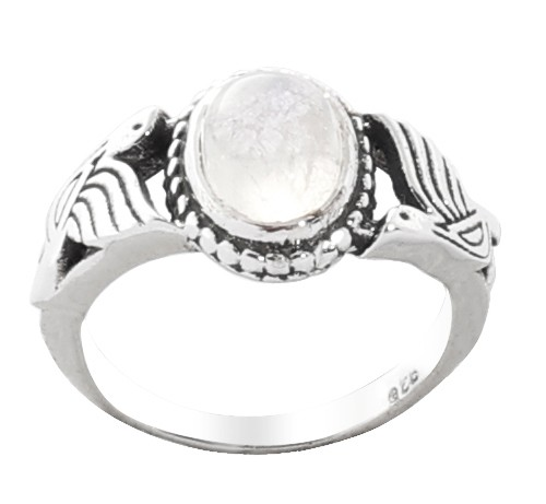Bird Design Sterling Silver Ring with Rainbow Moonstone