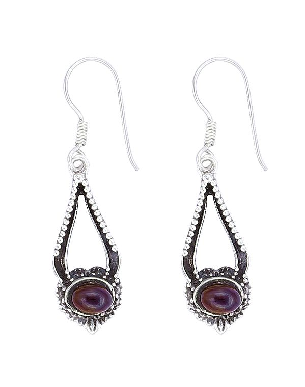 Sterling Silver Earrings Studded with Garnet Stone