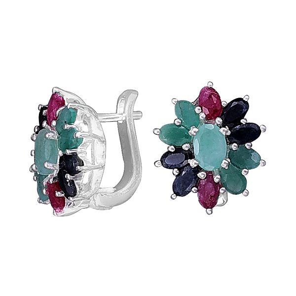 Sterling Silver Earring with Precious Gemstone