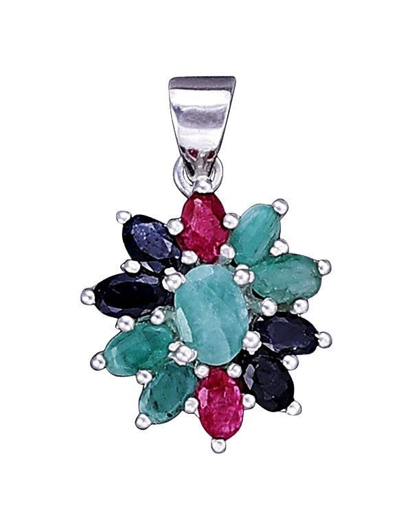 Sterling Silver Pendant with Ruby, Emerald and Sapphire Stone