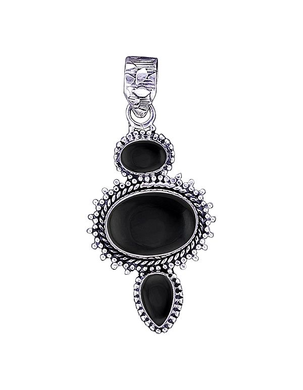 Sterling Silver Pendant with Black Onyx Stone
